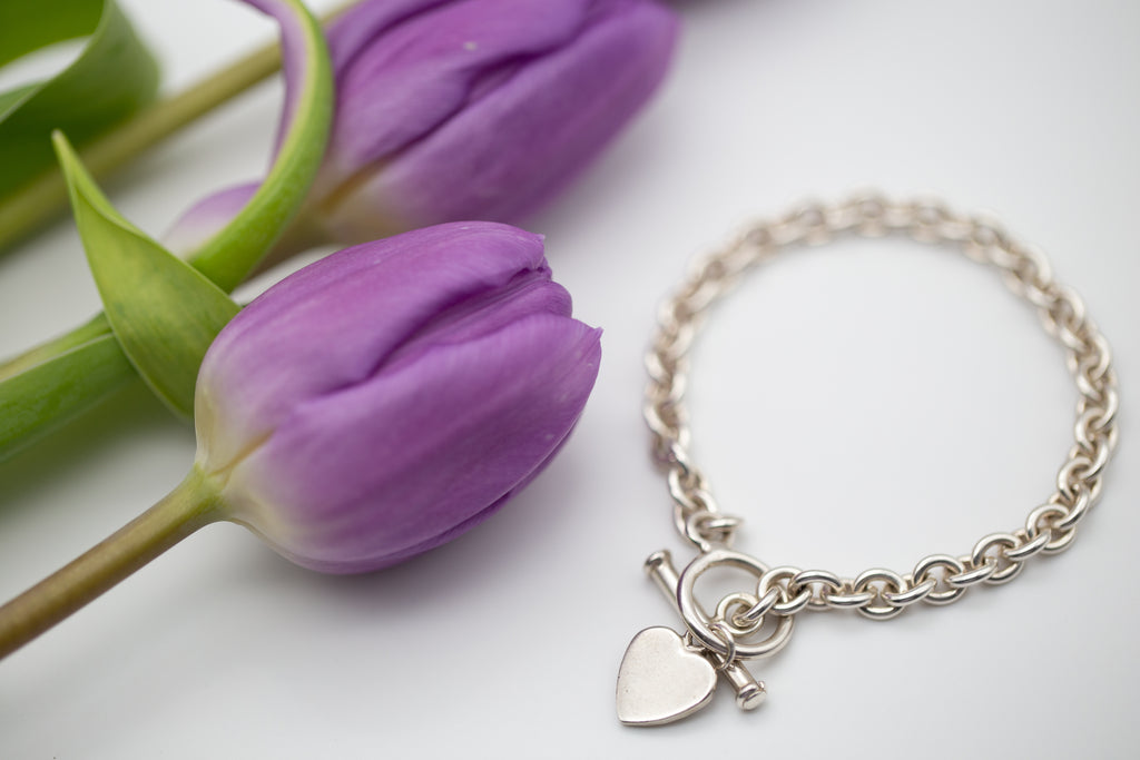 Sterling Silver Bracelet With T-Bar & Heart