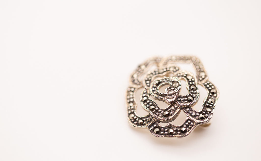 Rose Shaped Silver Brooch