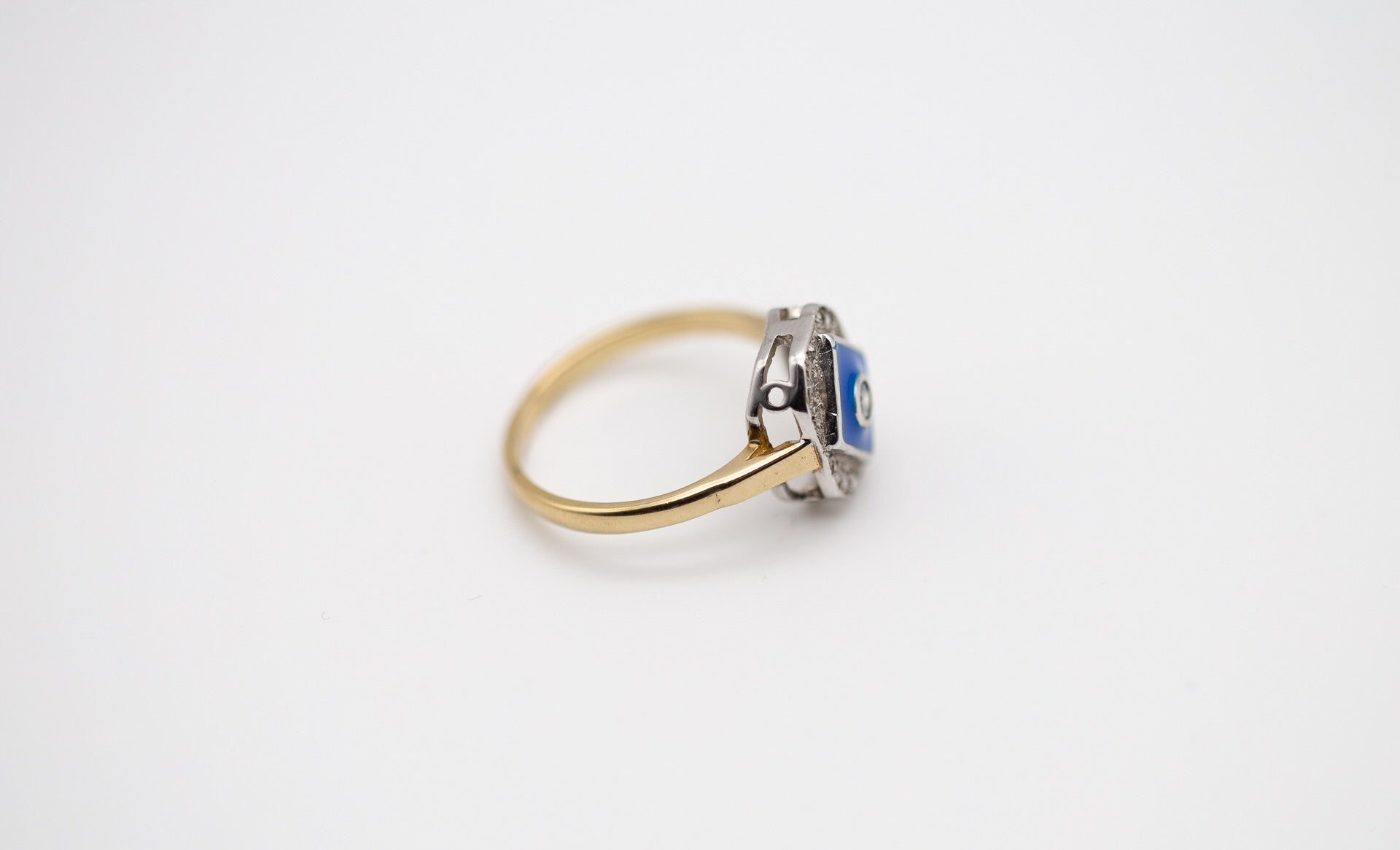 Blue Enamel & Diamond Ring