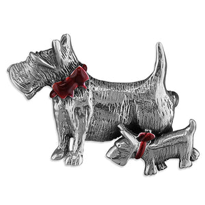 Scottie dogs brooch