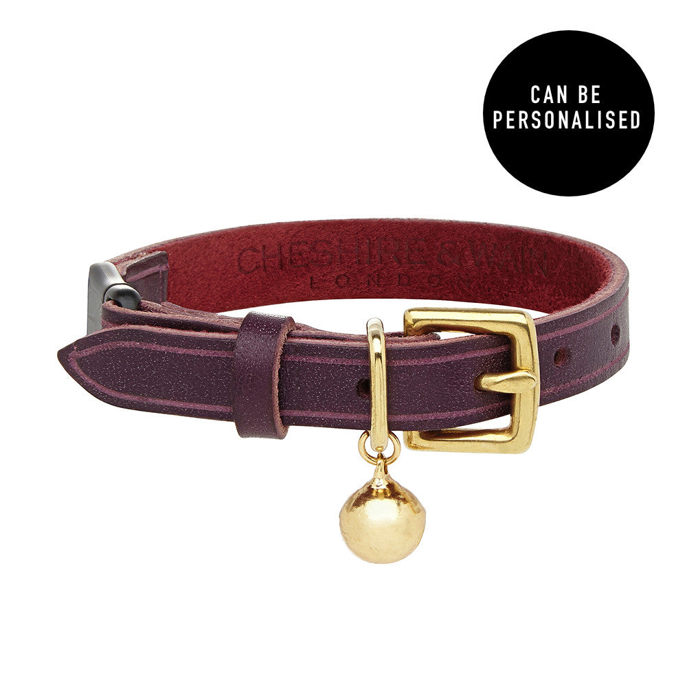[product _vendor] Bernie Heritage Purple Leather Cat Collar - STYLETAILS