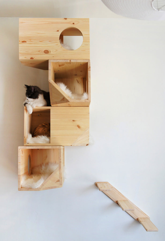 [product _vendor] Modular Cat Climbing Tower - Natural Wood - STYLETAILS
