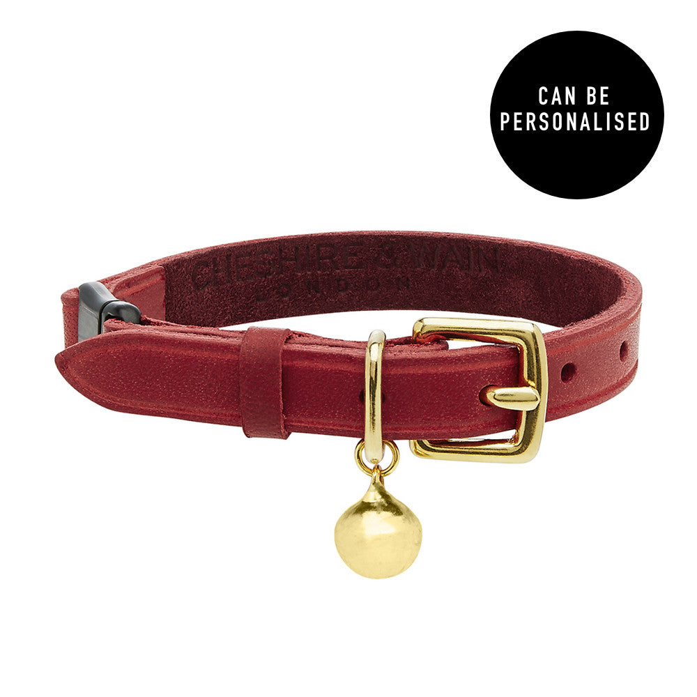 [product _vendor] Chester Red Luxury Leather Cat Collar - STYLETAILS