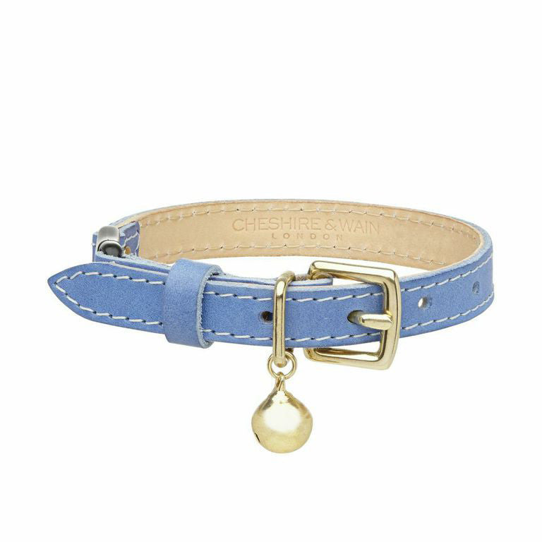 [product _vendor] Blue Leather Cat Collar - STYLETAILS