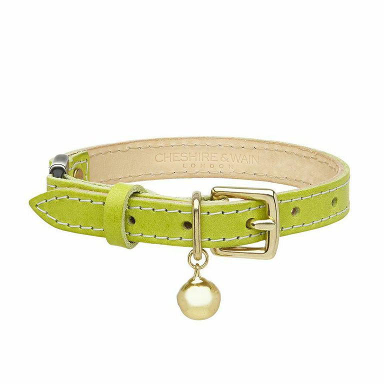 [product _vendor] Green Leather Cat Collar - STYLETAILS