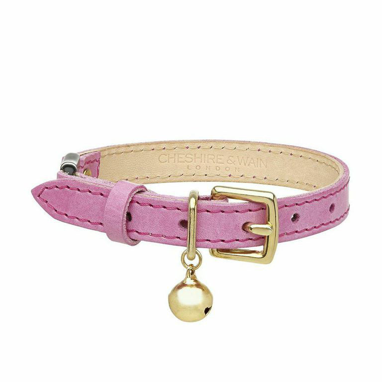 pink leather cat collar