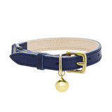 Navy Blue Leather Cat Collar