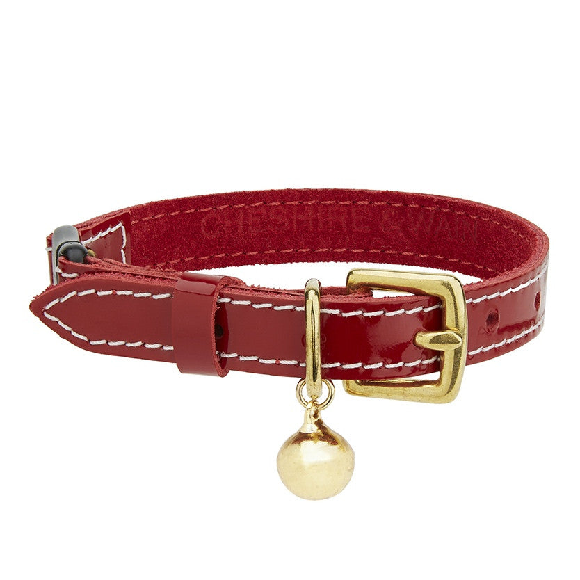 Red Patent Leather Cat Collar