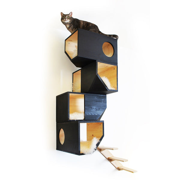 Styletails Cat Climbing Tower Black Luxury Cat Trees