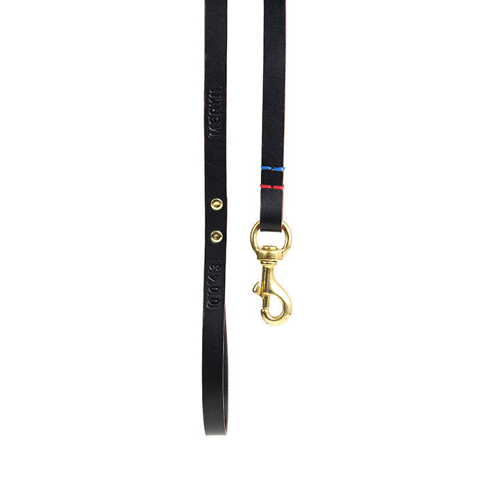 [product _vendor] Leather Dog Dog Lead - Black / Red - STYLETAILS