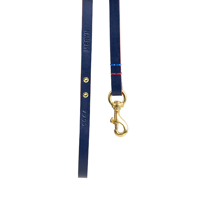 [product _vendor] Leather Dog Dog Lead - Navy / Red - STYLETAILS