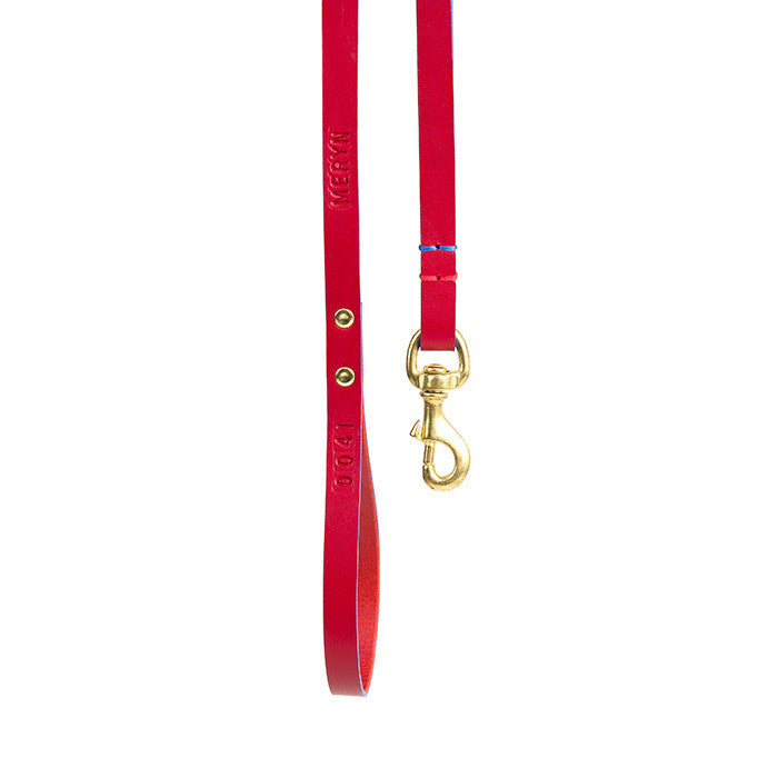 [product _vendor] Leather Dog Dog Lead - Red / Blue - STYLETAILS