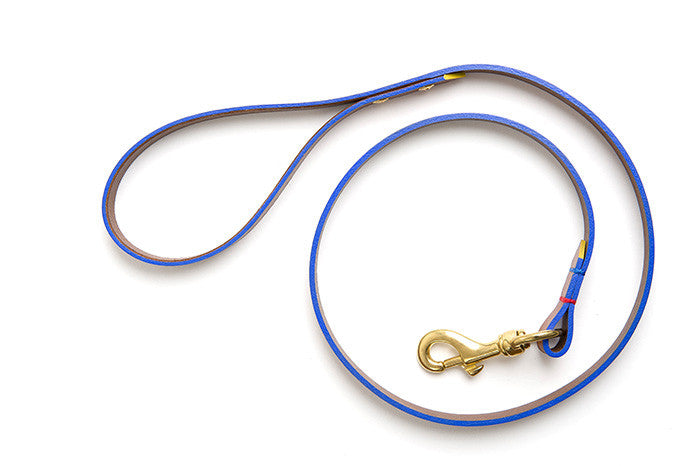 [product _vendor] Leather Dog Dog Lead - Tan / Blue - STYLETAILS
