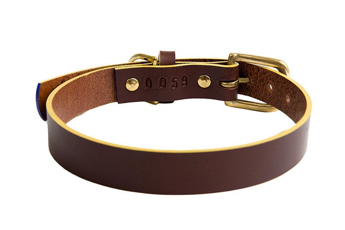 luxury handmade leather chocolate brown dog collar