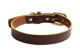 [product _vendor] Mowgli Leather Dog Collar - Chocolate Brown / Mustard - STYLETAILS