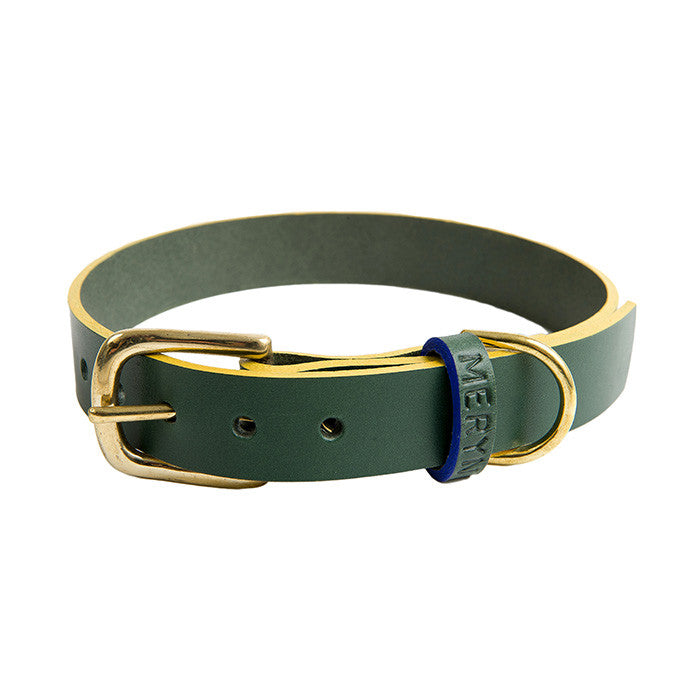 [product _vendor] Mowgli Leather Dog Collar - Green / Mustard - STYLETAILS