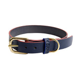 [product _vendor] Mowgli Leather Dog Collar - Navy / Red - STYLETAILS