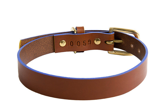[product _vendor] Mowgli Leather Dog Collar - Tan / Blue - STYLETAILS