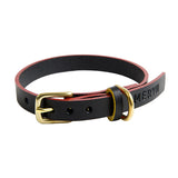 [product _vendor] Timothy Leather Dog Collar - Black / Red - STYLETAILS