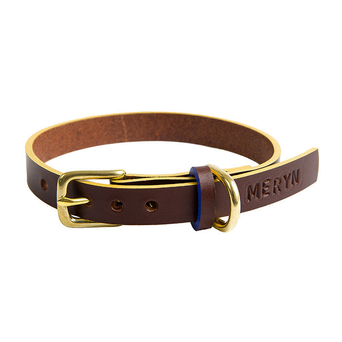 Timothy Leather Dog Collar - Chocolate Brown   Mustard 81a951215a3c7