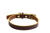[product _vendor] Timothy Leather Dog Collar - Chocolate Brown / Mustard - STYLETAILS