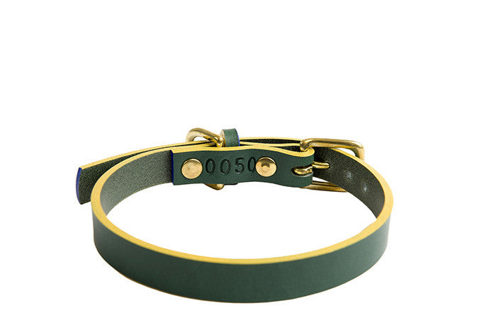 luxury handmade leather green dog collar