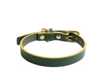 [product _vendor] Timothy Leather Dog Collar - Green / Mustard - STYLETAILS