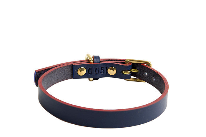 [product _vendor] Timothy Leather Dog Collar - Navy / Red - STYLETAILS