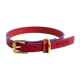 luxury handmade leather red dog collar