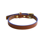 luxury handmade leather tan dog collar