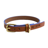 [product _vendor] Timothy Leather Dog Collar - Tan / Blue - STYLETAILS
