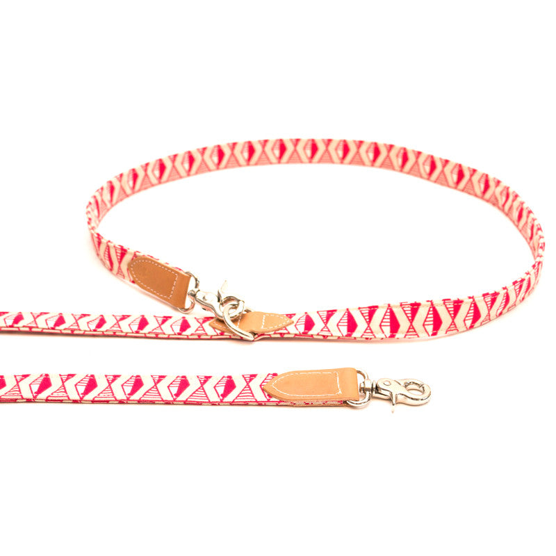 [product _vendor] Geo Pink Hands Free Dog Lead - STYLETAILS