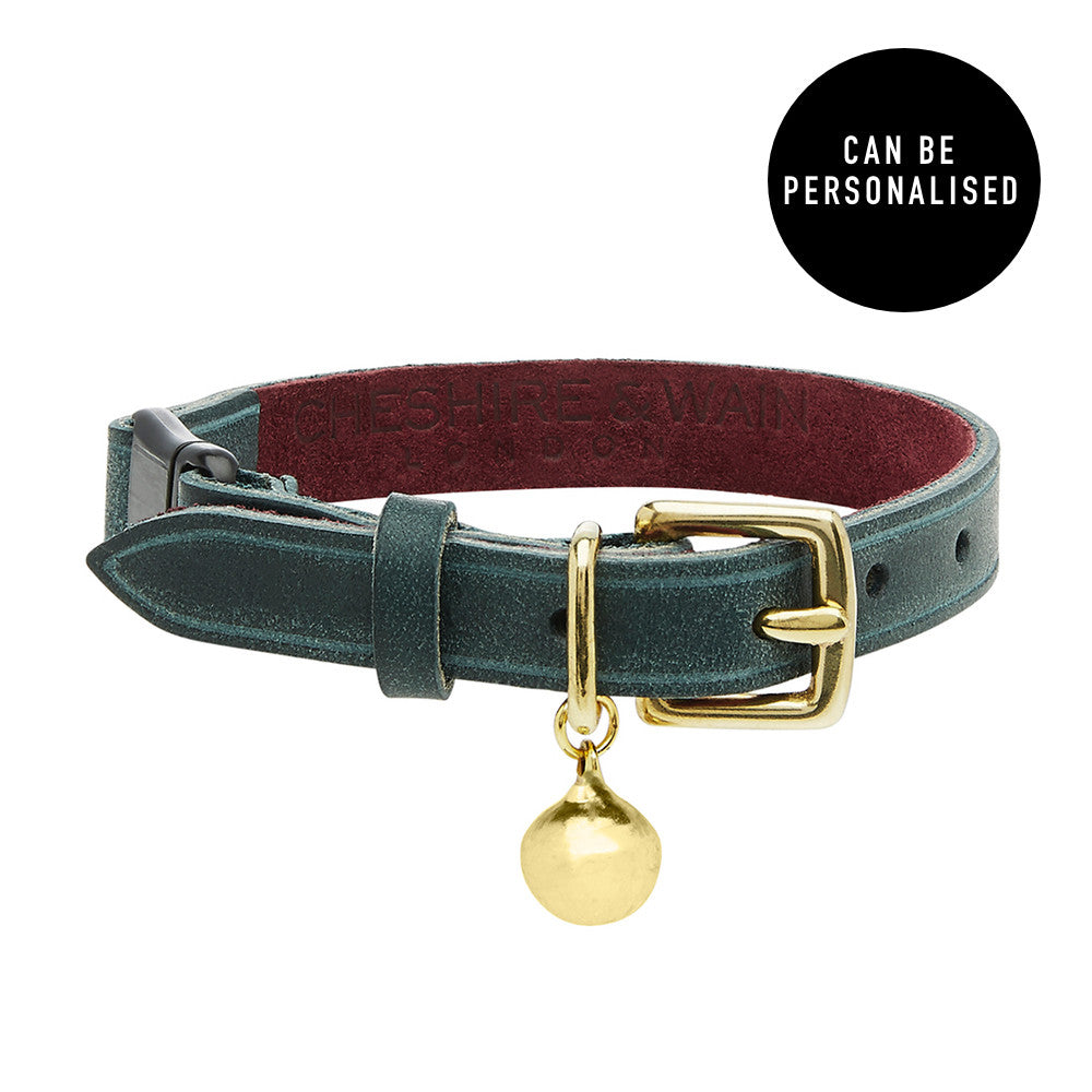 [product _vendor] Rigby Green Luxury Leather Cat Collar - STYLETAILS