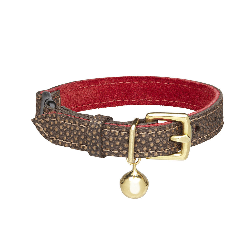 [product _vendor] Bronze and Red Leather Cat Collar - STYLETAILS