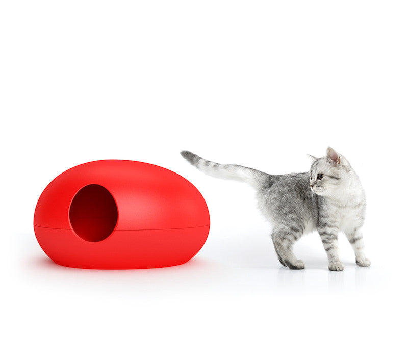 Poopoopeedo designer cat litter box red