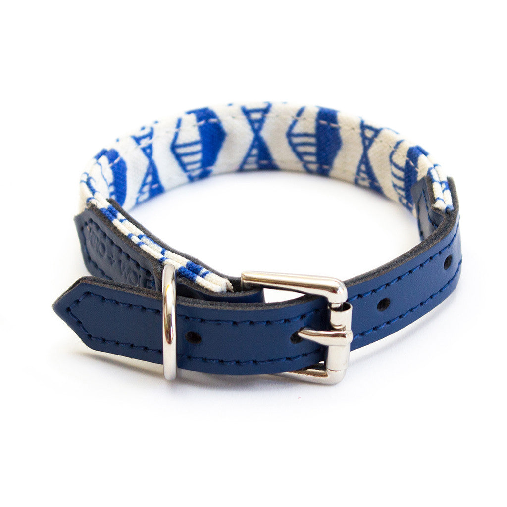 Geo Blue Dog Collar hiro wolf