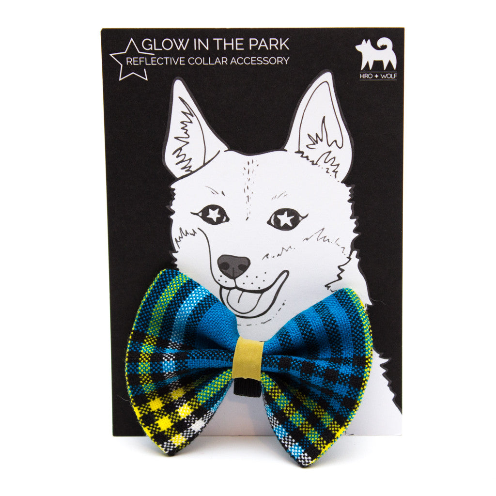 [product _vendor] Shuka Blue Check Dog Bow Tie - STYLETAILS