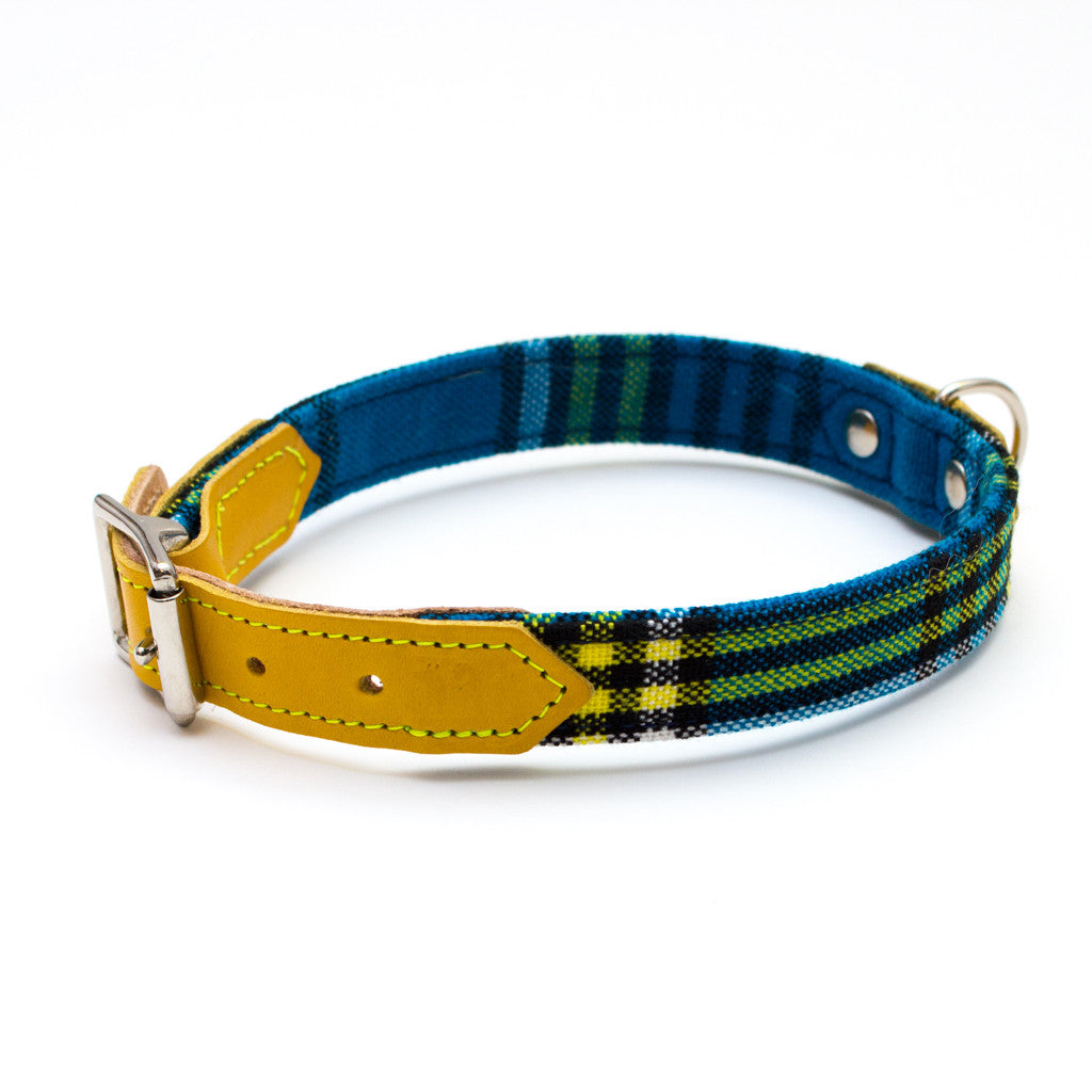 [product _vendor] Shuka Blue Check Dog Collar - STYLETAILS