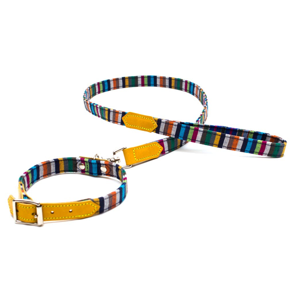 [product _vendor] Kikoy Botanical Stripe Dog Collar - STYLETAILS