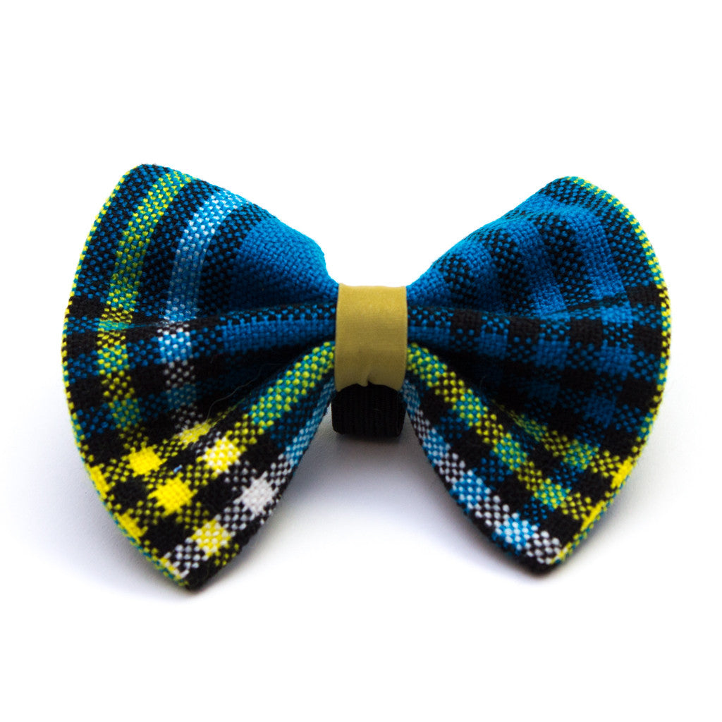 Shuka Blue Check Dog Bow Tie