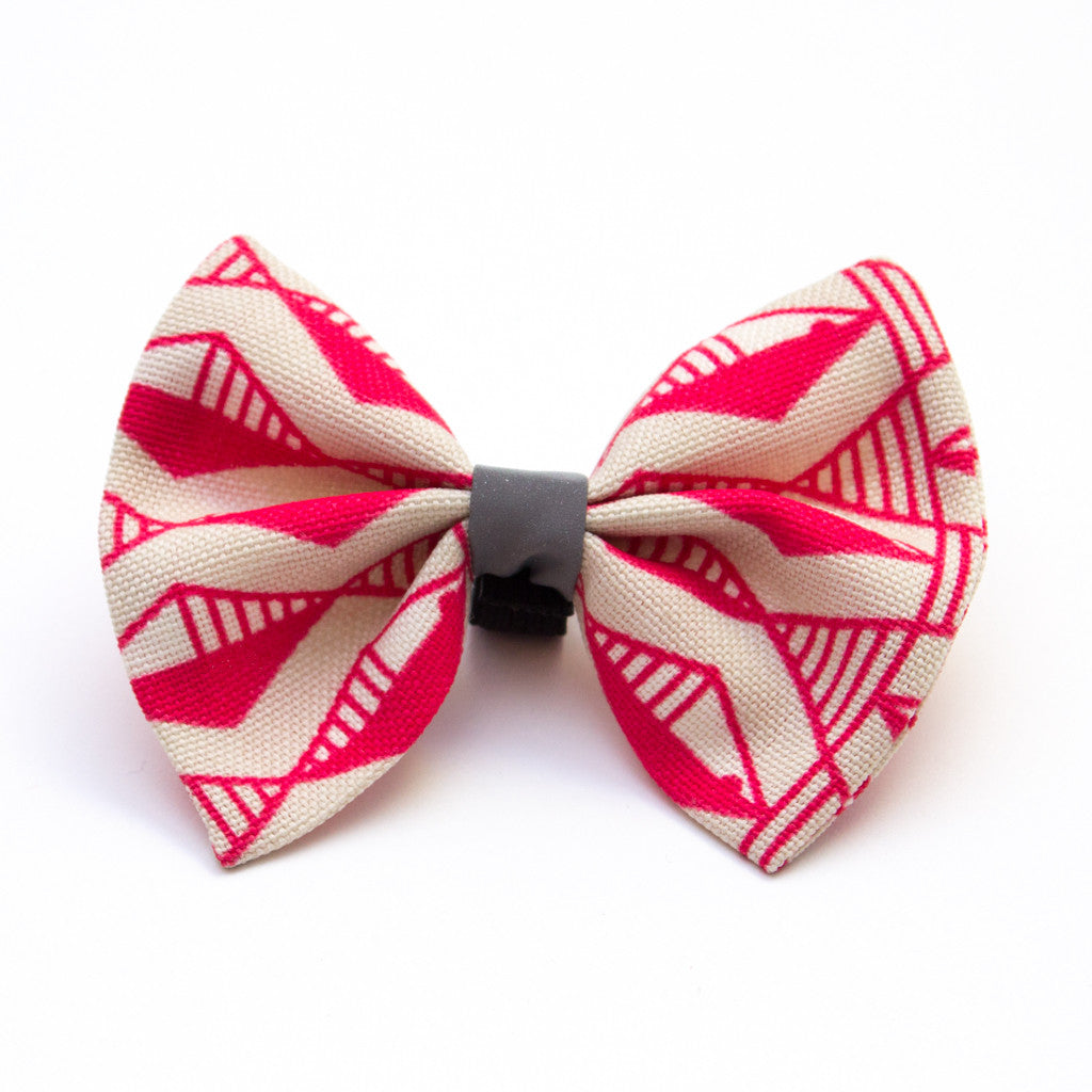 [product _vendor] Geo Pink Dog Bow Tie - STYLETAILS