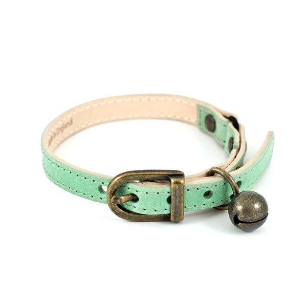 [product _vendor] Baby Green Leather Cat Collar - STYLETAILS
