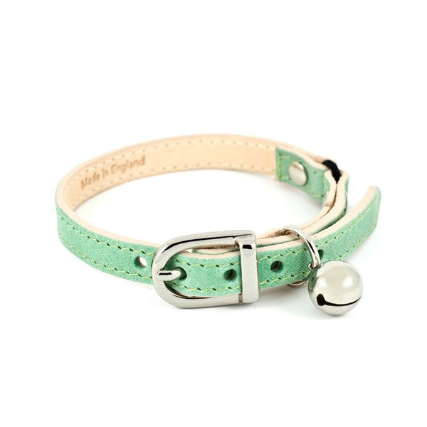 Baby Green Leather Cat Collar - Linny