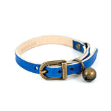 Blue Leather Cat Collar with antique Bell