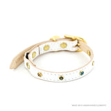 crystal white leather cat collar linny