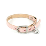 [product _vendor] Baby Pink Leather Cat Collar with Heart Charm - STYLETAILS