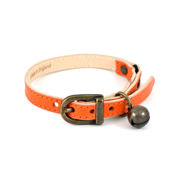 Orange Leather Cat Collar with Antique