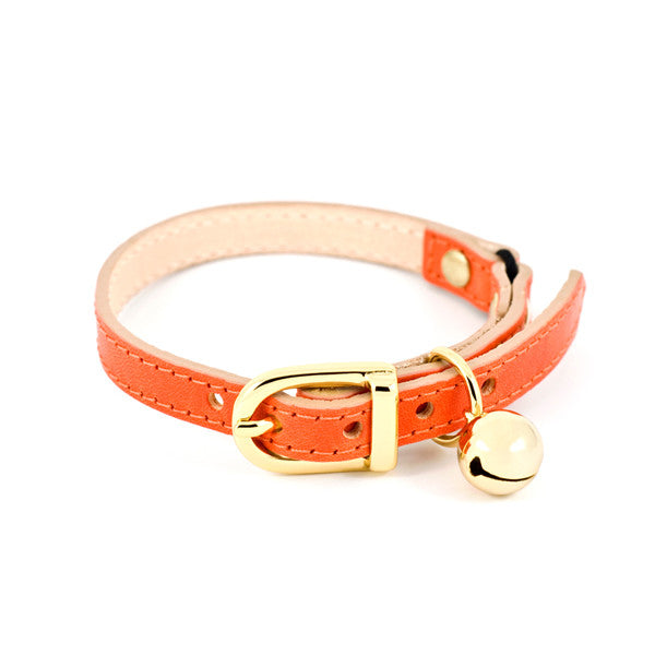 Orange Leather Cat Collar with Gold