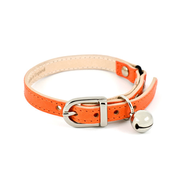 [product _vendor] Orange Leather Cat Collar - STYLETAILS