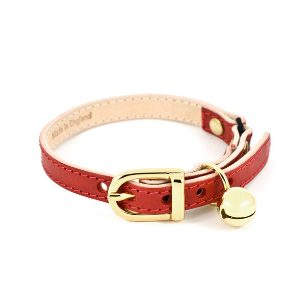 Red Leather Cat Collar - Linny